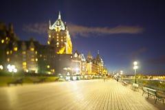 Πύργος Frontenac στην πόλη του Κεμπέκ τη νύχτα, Καναδάς Στοκ φωτογραφία με δικαίωμα ελεύθερης χρήσης