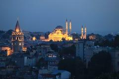 Πύργος Galata και μουσουλμανικό τέμενος Suleimanie Στοκ φωτογραφίες με δικαίωμα ελεύθερης χρήσης