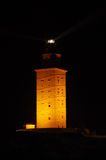 Πύργος Hercules τη νύχτα Στοκ Φωτογραφία