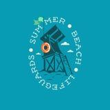 Πύργος Lifeguards θερινών παραλιών που σύρει την ωοειδή ετικέτα λογότυπων εμβλημάτων Στοκ φωτογραφία με δικαίωμα ελεύθερης χρήσης