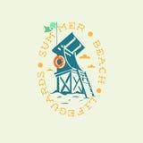 Πύργος Lifeguards θερινών παραλιών που σύρει την ωοειδή ετικέτα λογότυπων εμβλημάτων Στοκ φωτογραφίες με δικαίωμα ελεύθερης χρήσης