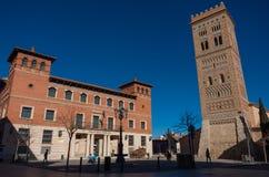 Πύργος SAN Martin στο mudejar ύφος και δημόσια βιβλιοθήκη στις δημόσιες σχέσεις του Perez Στοκ φωτογραφίες με δικαίωμα ελεύθερης χρήσης