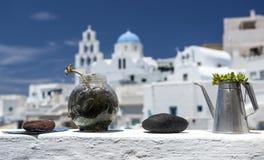 Πύργος, Santorini, Ελλάδα Η διάσημη έλξη του άσπρου χωριού με οι οδοί, ελληνικά νησιά των Κυκλάδων, Αιγαίο πέλαγος στοκ εικόνες