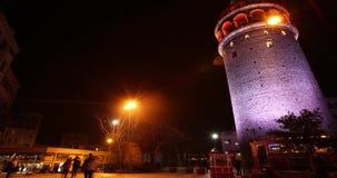 Πύργος Timelapse Κωνσταντινούπολη Τουρκία Galata φιλμ μικρού μήκους