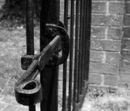 Πύλη επεξεργασμένου σιδήρου με το σύρτη Στοκ εικόνα με δικαίωμα ελεύθερης χρήσης