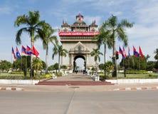 Πύλη νίκης σε Vientiane, η πρωτεύουσα του Λάος Στοκ εικόνες με δικαίωμα ελεύθερης χρήσης