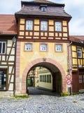 Πύλη πόλεων στην παλαιά κωμόπολη της Βαμβέργης Στοκ Εικόνες