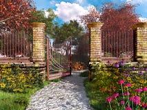 Πύλη στο ζωηρόχρωμο κήπο φθινοπώρου Στοκ Εικόνα