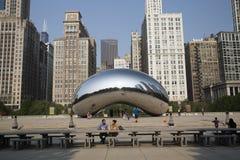 Πύλη σύννεφων ή το φασόλι στο Millennium Park του Σικάγου Στοκ φωτογραφία με δικαίωμα ελεύθερης χρήσης