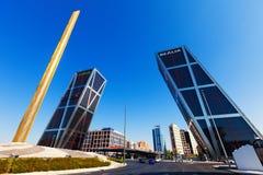Πύλη της Ευρώπης σε Plaza de Καστίλλη στη Μαδρίτη Στοκ Φωτογραφία
