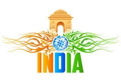 Πύλη της Ινδίας με το floral στρόβιλο tricolor Στοκ φωτογραφίες με δικαίωμα ελεύθερης χρήσης