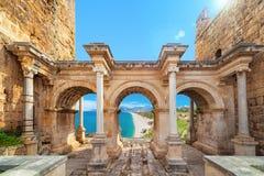 Πύλη του Αδριανού ` s - είσοδος σε Antalya, Τουρκία Στοκ Εικόνες