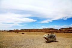 Πύλη Yumem και το Σινικό Τείχος στη δυναστεία Han στοκ φωτογραφίες