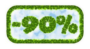 Πώληση άνοιξη Wobbler 90 τοις εκατό μακριά Επιστολές και αριθμοί από τα φύλλα σφενδάμου σε ένα θεϊκό υπόβαθρο με την επίδραση Στοκ Εικόνες