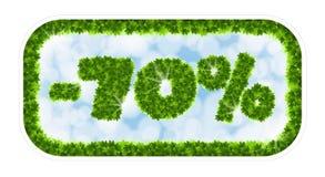Πώληση άνοιξη Wobbler 70 τοις εκατό μακριά Επιστολές και αριθμοί από τα φύλλα σφενδάμου σε ένα θεϊκό υπόβαθρο με την επίδραση Στοκ Εικόνες
