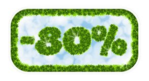 Πώληση άνοιξη Wobbler 80 τοις εκατό μακριά Επιστολές και αριθμοί από τα φύλλα σφενδάμου σε ένα θεϊκό υπόβαθρο με την επίδραση Στοκ εικόνες με δικαίωμα ελεύθερης χρήσης