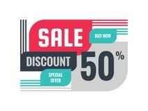 Πώληση - έκπτωση 50% διανυσματική απεικόνιση εμβλημάτων έννοιας Ειδικό σχεδιάγραμμα προώθησης προσφοράς δημιουργικό γεωμετρικό αγ Ελεύθερη απεικόνιση δικαιώματος