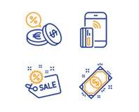 Πώληση, ανταλλαγή νομίσματος και ανέπαφα εικονίδια πληρωμής καθορισμένες r r απεικόνιση αποθεμάτων