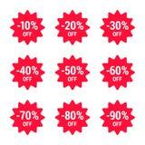 Πώληση, από τα τοις εκατό, σύνολο εικονιδίων, κόκκινο Διανυσματικό EPS 10 απεικόνιση αποθεμάτων