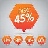 Πώληση 45%, δίσκος, μακριά στην εύθυμη πορτοκαλιά ετικέττα για σχέδιο στοιχείων μάρκετινγκ το λιανικό Στοκ Εικόνες