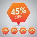 Πώληση 45%, δίσκος, μακριά στην εύθυμη πορτοκαλιά ετικέττα για σχέδιο στοιχείων μάρκετινγκ το λιανικό Στοκ Φωτογραφία