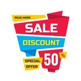 Πώληση - διανυσματική δημιουργική απεικόνιση εμβλημάτων Αφηρημένη έκπτωση 50% έννοιας σχεδιάγραμμα προώθησης στο άσπρο υπόβαθρο Ε Απεικόνιση αποθεμάτων