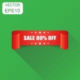 Πώληση 80% εικονίδιο κορδελλών Πώληση επιχειρησιακής έννοιας αυτοκόλλητη ετικέττα 80 τοις εκατό Στοκ Φωτογραφίες