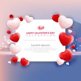 Πώληση ημέρας βαλεντίνων με το σχέδιο καρδιών μπαλονιών στο ροζ και το μπλε ελεύθερη απεικόνιση δικαιώματος