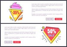 Πώληση -30 και -50 από την καθορισμένη διανυσματική απεικόνιση απεικόνιση αποθεμάτων