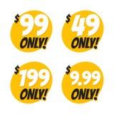 Πώληση 49 99 199 και 9 Σχέδιο αυτοκόλλητων ετικεττών διακριτικών προσφοράς 99 δολαρίων μόνο στο επίπεδο ύφος διανυσματική απεικόνιση