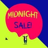 Πώληση μεσάνυχτων κειμένων γραφής Το κατάστημα έννοιας έννοιας θα είναι ανοικτό μέχρι τα μεσάνυχτα με τη μεγάλη έκπτωση στα στοιχ απεικόνιση αποθεμάτων