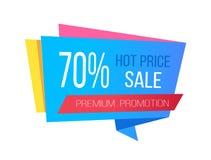 Πώληση με τις καυτά τιμές και 70 από την αυτοκόλλητη ετικέττα Promo Στοκ φωτογραφίες με δικαίωμα ελεύθερης χρήσης