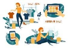 Πώληση, νέες αγορές γυναικών dof καρτών αγορές χεριών εστίασης ρηχές on-line πολύ αγορές Ενδύματα και υποδήματα Διανυσματική απεικόνιση