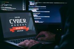 Πώληση προώθησης Δευτέρας Cyber στο lap-top στοκ εικόνα