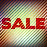 ` Πώληση ` σε ένα φωτεινό ριγωτό υπόβαθρο Διανυσματικό γραφικό σχέδιο Στοκ εικόνες με δικαίωμα ελεύθερης χρήσης