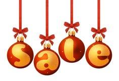 Πώληση στις κόκκινες διακοσμήσεις Χριστουγέννων Στοκ Εικόνες
