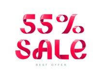 Πώληση 55 τοις εκατό μακριά διανυσματική απεικόνιση