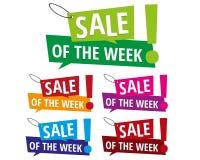 Πώληση των ετικετών εμβλημάτων εβδομάδας Στοκ Εικόνα