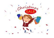 Πώληση Χριστουγέννων, αγορές, τέλος της εποχής, γυναίκα, χαρακτήρας γ κοριτσιών διανυσματική απεικόνιση