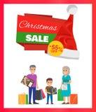 Πώληση 55 Χριστουγέννων αφίσα διαφήμισης Percents Στοκ Εικόνα
