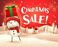 Πώληση Χριστουγέννων! Ο εύθυμος χιονάνθρωπος κρατά ψηλά το δώρο παρόν στο χειμερινό τοπίο σκηνής χιονιού Χριστουγέννων διανυσματική απεικόνιση