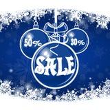 Πώληση Χριστουγέννων σε ένα μπλε υπόβαθρο Χριστούγεννα εύθυμα Στοκ εικόνα με δικαίωμα ελεύθερης χρήσης