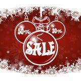 Πώληση Χριστουγέννων στο κόκκινο υπόβαθρο Χριστούγεννα εύθυμα Στοκ Εικόνες