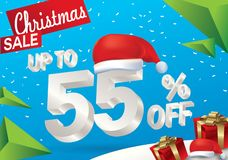 Πώληση Χριστουγέννων 55 τοις εκατό Υπόβαθρο χειμερινής πώλησης με το τρισδιάστατο κείμενο πάγου με το έμβλημα και το χιόνι Άγιου  απεικόνιση αποθεμάτων