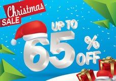 Πώληση Χριστουγέννων 65 τοις εκατό Υπόβαθρο χειμερινής πώλησης με το τρισδιάστατο κείμενο πάγου με το έμβλημα και το χιόνι Άγιου  διανυσματική απεικόνιση