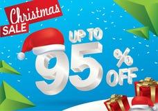 Πώληση Χριστουγέννων 95 τοις εκατό Υπόβαθρο χειμερινής πώλησης με το τρισδιάστατο κείμενο πάγου με το έμβλημα και το χιόνι Άγιου  διανυσματική απεικόνιση