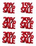πώληση 10 15 20 25 30 35 τρισδιάστατη τοις εκατό Στοκ Φωτογραφία