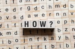 Πώς έννοια λέξης στοκ φωτογραφία με δικαίωμα ελεύθερης χρήσης