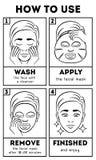 Πώς να χρησιμοποιήσει την του προσώπου μάσκα φύλλων Διανυσματική οδηγία ομορφιάς και προσοχής διανυσματική απεικόνιση