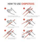 Πώς να χρησιμοποιήσει chopsticks Στοκ φωτογραφίες με δικαίωμα ελεύθερης χρήσης